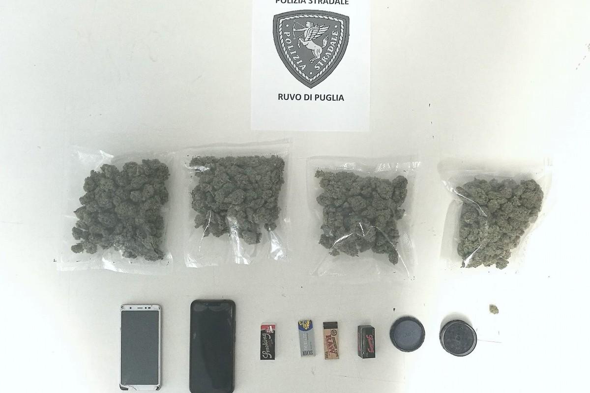 La droga sequestrata dalla Polizia Stradale