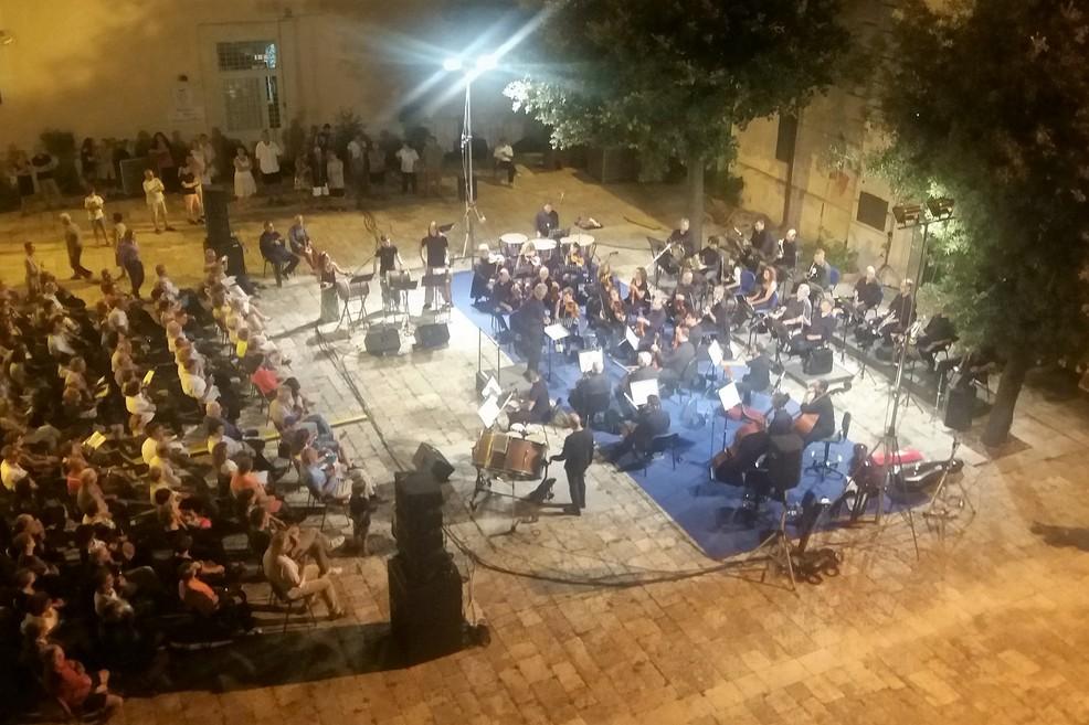 L'esibizione vista dall'alto. <span>Foto Gianluca Battista</span>