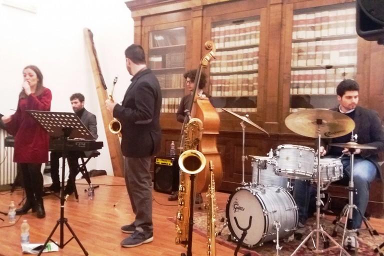 Il quintetto sul palco dell'Auditorium Marano. <span>Foto Gianluca Battista</span>