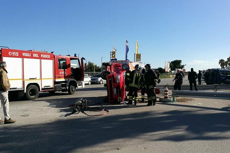 L'incidente avvenuto sulla ex strada statale 16 Adriatica per Molfetta