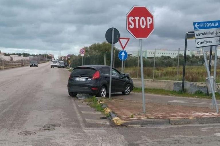 L'incidente stradale avvenuto sulla ex strada statale 16 Adriatica