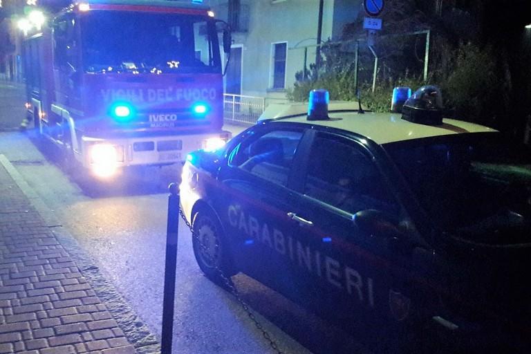 L'intervento dei Vigili del Fuoco e dei Carabinieri