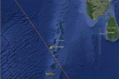 I frammenti del razzo cinese caduti nell'Oceano Indiano