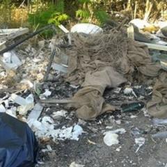 Una mini-discarica abusiva sulla provinciale per Bitonto