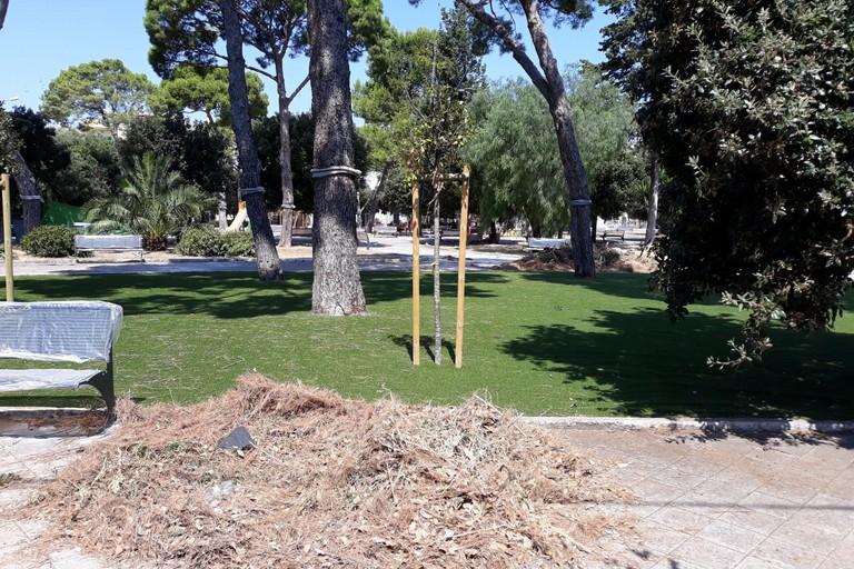 L'erba sintetica nell'area giochi