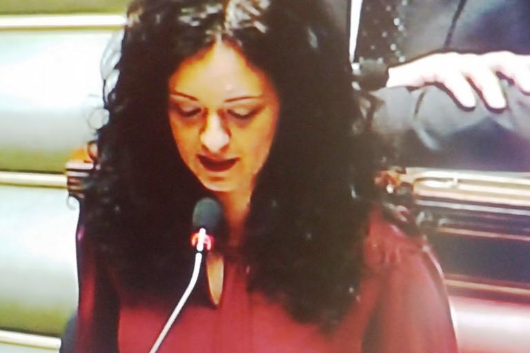 Francesca Galizia durante l'intervento